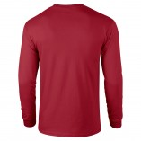 Adult Unisex Ultra Cotton Long Sleeve T-Shirt Cardinal Red Back