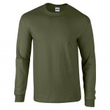 Adult Unisex Ultra Cotton Long Sleeve T-Shirt Military Green Front