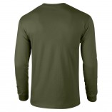 Adult Unisex Ultra Cotton Long Sleeve T-Shirt Military Green Back