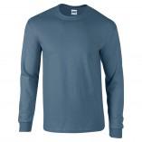 Adult Unisex Ultra Cotton Long Sleeve T-Shirt Indigo Blue Front
