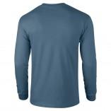 Adult Unisex Ultra Cotton Long Sleeve T-Shirt Indigo Blue Back