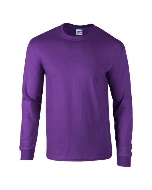 Adult Unisex Ultra Cotton Long Sleeve T-Shirt Purple Front