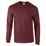 Adult Unisex Ultra Cotton Long Sleeve T-Shirt Maroon Front