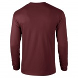 Adult Unisex Ultra Cotton Long Sleeve T-Shirt Maroon Back