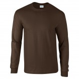 Adult Unisex Ultra Cotton Long Sleeve T-Shirt Dark Chocolate Front