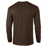 Adult Unisex Ultra Cotton Long Sleeve T-Shirt Dark Chocolate Back