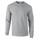 Adult Unisex Ultra Cotton Long Sleeve T-Shirt Sports Gray Front