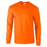Adult Unisex Ultra Cotton Long Sleeve T-Shirt Safety Orange Front