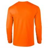 Adult Unisex Ultra Cotton Long Sleeve T-Shirt Safety Orange Back